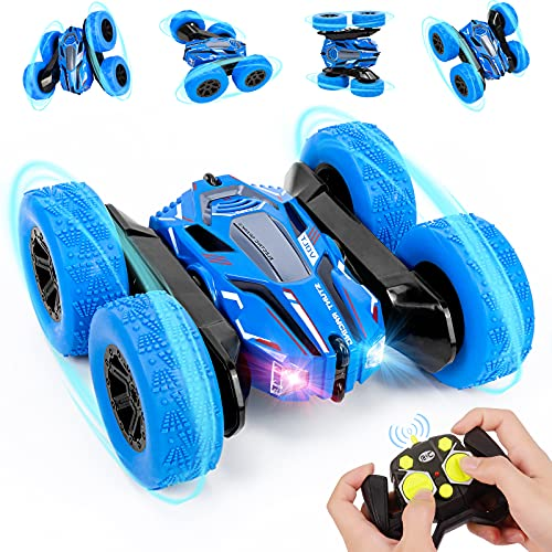 Ferngesteuertes Auto für Kinder RC Stunt Auto 4WD 2.4 Ghz Fernbedienung 360° Flip RC Auto Offroad mit Zwei aufladbare Batterien Spielzeugautos Ferngesteuerte Fahrzeuge für Jungen ab 3 4 5 6 7 8 12