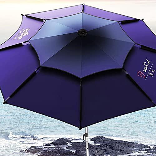 GDHY Parasol Ø220cm Sombrilla De Playa Antiviento Paraguas Pesca Rotación De 360 ° Regulable Parasol Protección Solar para Piscina Jardín Al Aire Libre
