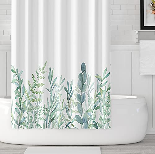 MundW DAS DESIGN Duschvorhang grüne Blätter Blumen Pflanzen Badezimmer Textil Vorhang mit Antischimmel Effekt waschbar Shower Curtain badewanne inkl. 8 C-Ringe mit Gewicht unten 120x180cm(BxH)