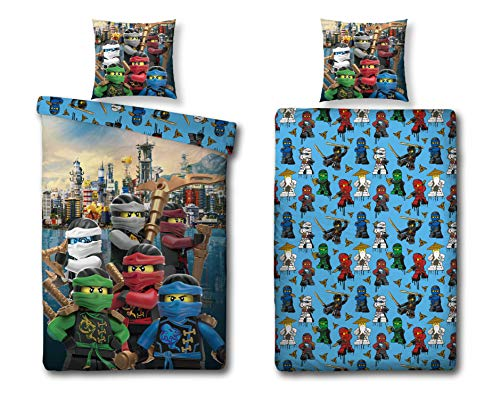 Character World Ninjago Motiv Bettwäsche 135x200 cm + Kissen 80x80 cm Lego Kinder-Bettwäsche Jungen 100% Baumwolle, Biber/Flanell Winter-Bettwäsche