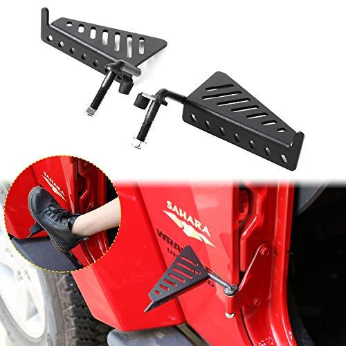 JeCar Exterior Front Foot Pegs Metal Foot Step for 2007-2018 Jeep Wrangler JK JKU, 2018-2020 Jeep Wrangler JL JLU & 2020 Jeep Gladiators JT, Black