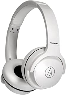 Audio Technica ATH-S220BTWH Bluetooth Wireless On-Ear Headphones With Mic and 40mm Drivers Foldable (White)