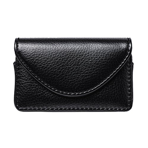 FYY Visitenkarten-Etui, handgefertigt, hochwertiges PU-Leder C-Black Business Name Card Case