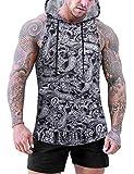 Daupanzees Men Workout Shirt Sleeveless Hoodie Cotton Tank Top Gym Clothes Cool Tank Tops for Men Muscle Shirts (Paisley M)
