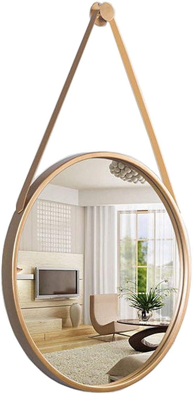 Elegant Round Wall Hanging Mirror Decorative Mirror Dressing Bathroom Mirror Retro Round Metal Frame Mirror (gold,Diameter 11.8-31.5 Inch)