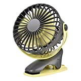QINUKER Battery Operated Clip on Fan, Portable USB Rechargeable Desk Stroller Fan, 4000mAh Battery, 4 Modes for Baby Stroller Home Office Bedroom and Outdoor Travel (Grey)