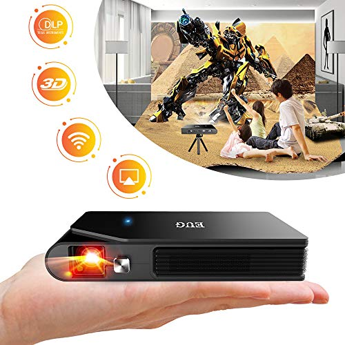 WIKISH Mini Movie Projector,Portable Home Theater Support 1080p/3D Video/Wifi/Large Display/Wireless Screen Mirroring,Rechargeable DLP Projector Compatible with HDMI USB PC DVD Player TV Box Laptop