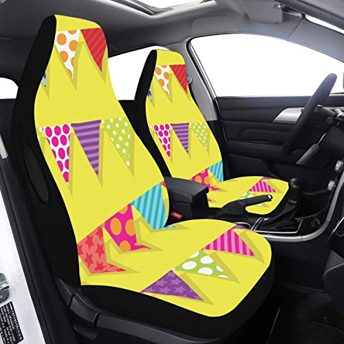 Cover Car Seat Popular Bunting Flags Decor XL Rear Seat Cover 2 Pcs Universal Fit Airbag Compatible for for Car SUV Auto Truck Full Seat Covers