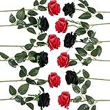 Floralsecret 12 Pcs Artificial Silk Rose Flower Bouquet Faux Flowers Home Wedding Party Decor(Black,Red)