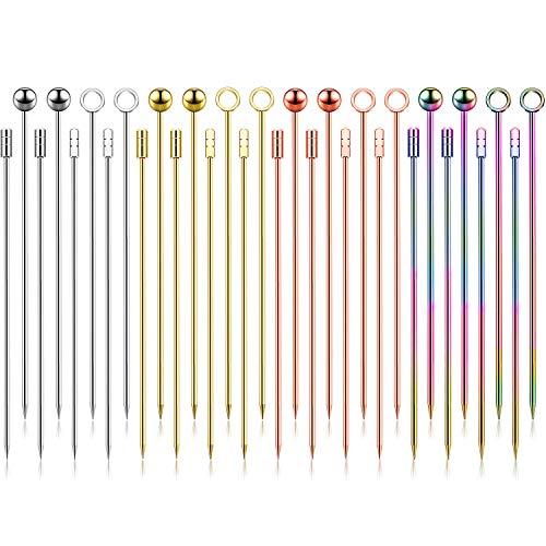Palillos de Cóctel de Acero Inoxidable Palillos de Fruta Multicolores Palitos de Bebida de Aperitivo para Bar Barbacoa Sándwiches (Plata, Oro Rosa, Oro, Colorido, 32)