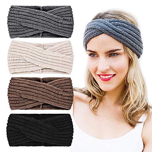 Soul hill Tricoté Hairband Crochet Turban Bandeau for Femmes Filles Chaud Bulky Crocheté Headwrap zcaqtajro (Color : 4 Pack Set D)