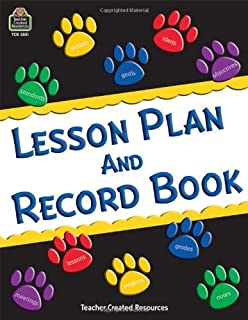 TCR2551 - Teacher Created Resources Paw Prints Lesson Plan amp;amp; Record Book with Monthly Planner