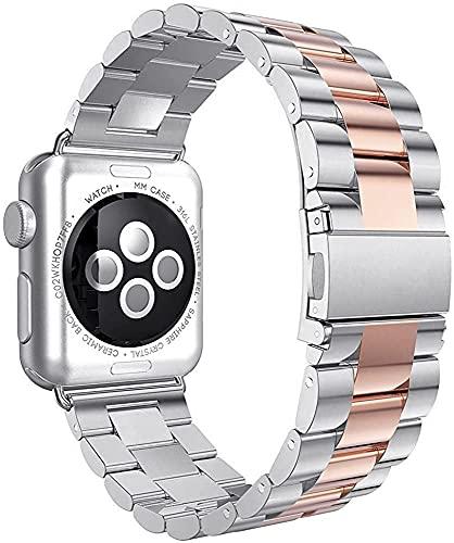 Reloj De La Correa De La Correa De La Correa De Acero Inoxidable 40mm 44mm Banda Enlace De Metal Pulsera 42mm 38mm Reloj Accesorios Relojes De Reloj (Color De La Banda: Rosa Rosa)