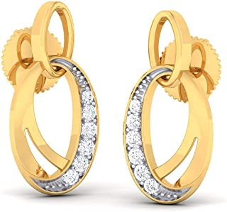 Jiana Jewels Gold Plated Silver 0.14 Carat Round Shape Brilliant Cut Natural Diamond Stud Earrings For Women /& Girls I-J Color, SI2-I1 Clarity