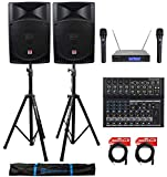 (2) Rockville RPG15 15' 2000w Active PA/DJ Speakers+Mixer+Mic+Stands+Cables+Bag