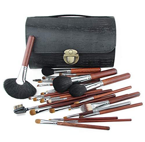 Maquillage professionnel pinceau de maquillage 24pcs cosmétiques pinceaux avec poils synthétiques et végétaliens pour fond de poudre Contour Stippling Angle, lèvre-black
