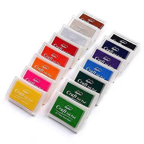 Aiwer Ink Pads wasbare inkt stempel pads voor kinderen Craft Scrapbooking stempel pads voor rubber stempels Inkpad 15 kleuren