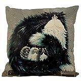 Nunubee housse de coussin Modèle de chat noir et blanc coussin decoration decoratif canape deco canapé scandinave Décoration de voiture, style 2,Polyester et lin mélangé (lin) 45x45cm