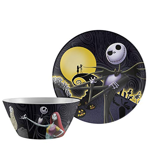 "Zak Designs Disney's The Nightmare Before Christmas-Kid Dinnerware Set Includes 10"" Melamine Plate and 27oz Bowl, Break Resistant Plate and Bowl Make Mealtime Fun (Jack & Sally, Melamine, BPA-Free)"