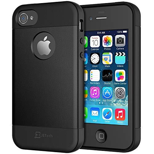 JETech Hülle Kompatibel iPhone 4s & iPhone 4, TPU Leder, Schwarz
