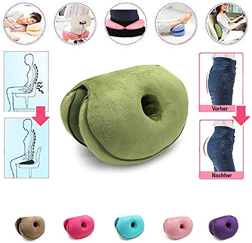 Animatey Multifunctional Foldable Thick Filling Office Chair Seat Cushion Ergonomic Buttocks Push Up Office Spinal Cushion Leg Cushion Travel Seat Cushion for Home Car Study Couch Indoor Green