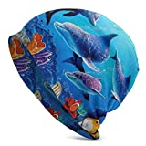 AEMAPE Acuario, delfín, Peces y Algas, mar Azul, Gorro Unisex, Gorro de Punto, Gorro elástico, Gorro de Calavera, Gorro para la Cabeza