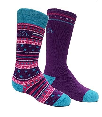 Bridgedale Kids Merino Ski Socks - 2 Pack, Fuchsia/Blue, Small