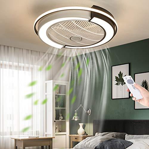 Ventilador De Techo LED Con Iluminación Ultra Silencioso Regulable Fan Luz De Techo Ventilador Invisible Lámpara De Techo Con Control Remoto Dormitorio Ventilador Lámpara,Black+white