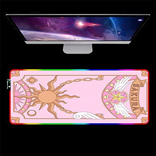 Tapis de Souris Gaming Kawaii Anime Card Captor Sakura RGB Tapis de Souris XXL Rose Rougeoyant LED USB Clavier Tapis Ordinateur Portable Accessoires De Jeu Bureau-400x900mm_Color_C