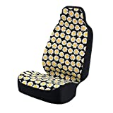 Coverking Universal Fit 50/50 Bucket Flower Fashion Print Seat Cover - Daisy Crazy (Yellow and White Daisies with Black Background)