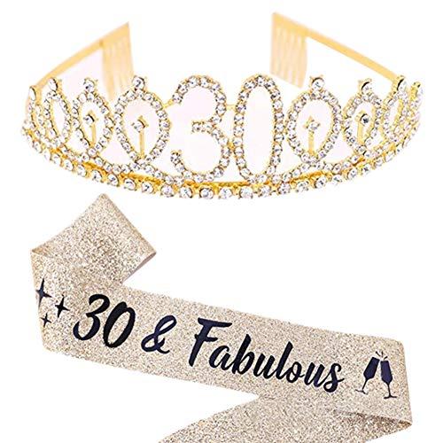 Oro 30 Anni Compleanno Crown Tiara Di Cristallo, 30 Anni Fascia Compleanno Per Regalo Festa Compleanno Con 30 & Fabulous Tracolla 30 Anni Decorazione