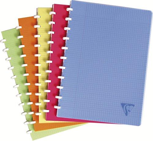Clairefontaine 328136C Spiralbuch Clairing (DIN A4, 21 x 29,7cm, kariert mit Rand, 72 Blatt) 1 Stück farbig sortiert