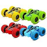 Spingere e andare giocattoli per bambini auto, 360 stunting rotanti fuoristrada giocattoli auto, auto alimentate ad attrito inerziale, 4 ruote motrici giocattoli novità, capovolge mini auto