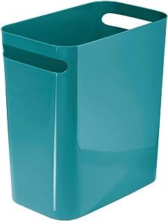mDesign Slim Plastic Rectangular Large Trash Can Wastebasket, Garbage Container Bin, Handles for Bathroom, Kitchen, Home O...