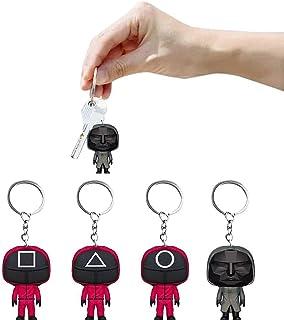 سلسلة مفاتيح لعبة سكويد، قلادة نموذج لعبة الحبار التلفزيونية 2021، إكسسوار هالوين معلق على الظهر للزينة (4 قطع، 2.4 × 1.7...