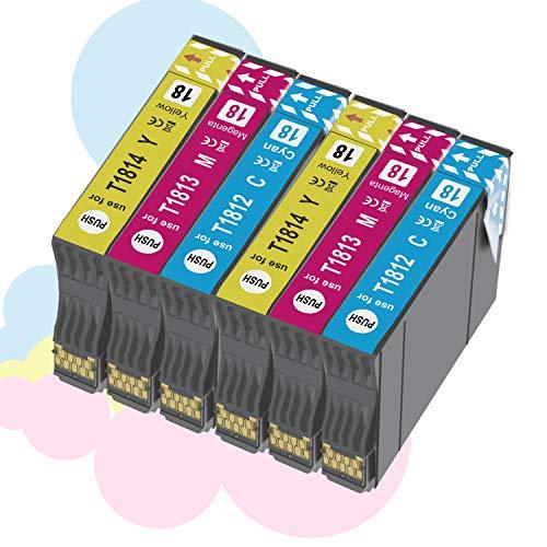 Ouguan Cartouches d'encre haute capacité pour Epson 18 18XL Compatible pour Epson Expression Home XP-322 XP-412 XP-305 XP-312 XP-405 XP-425 XP-325 XP-225 XP-215 XP-202 XP-415-2 Cyan 2 Magenta