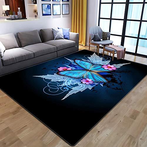 CQIIKJ Alfombra Impresa Mariposa Flor Rosa Azul Blanco Negro Alfombra Antideslizante Lavables 200 x 300 cm Alfombras Dormitorio salón alfombras alfombras de habitación.