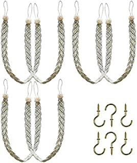 Home Queen Hand Braided Curtain Tie Back, Buckle Holdback Drapery Curtain Tiebacks, 6 Rope Belt Curtain Tie with 6 Metal Hooks, Beige and Silver