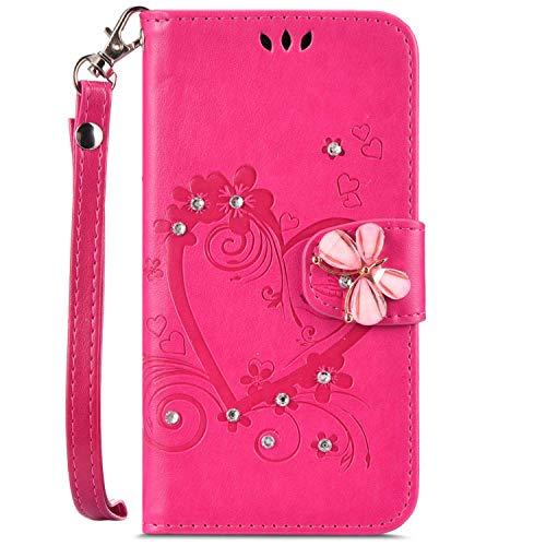 QPOLLY Cover Compatibile con Samsung Galaxy S6 Edge, PU Pelle Flip Portafoglio Supporto Libro Cover 3D Brillantini Diamante Farfalla Disegni Slot per Scheda Chiusura Magnetica Custodia,Rosa rossa