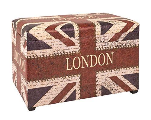 Haku Sitztruhe mit London Schriftzug, Klappbar und gepolstert mit Kunstleder bezogen; Maße (B/T/H) in cm: 65x40x42