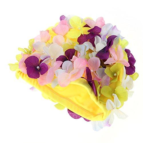 Tinksky Nadar Regalo Tapa natación Hat Flores pétalo Elegante Gorras de baño Talla L para Mujeres (Colorido)