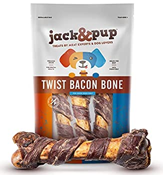 Jack&Pup Pork Femur Dog Bones for Aggressive Chewers  3 Pack  - 10  All Natural Gourmet Twist Bacon Dog Bones for Large Dogs - Long Lasting Dog Chew Bone - Real Smoked Flavored Dog Chews