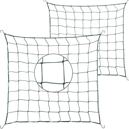 2 Stücke 3 x 3 Feet Flexibles Netz Gitter Langlebig Garten Wachstumsnetz Grün Elastisch Gitter Netz mit Haken für 3 x 3 Feet, 4 x 4 Feet und Mehr Größe Zucht Pflanzen Zelte