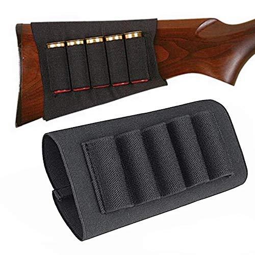 Gexgune Fucile da Caccia tattico Shotgun Sacchetti 5 Butt cartucce Stock Shell Titolare Tessuto Elastico Munizioni Carrier Pouch