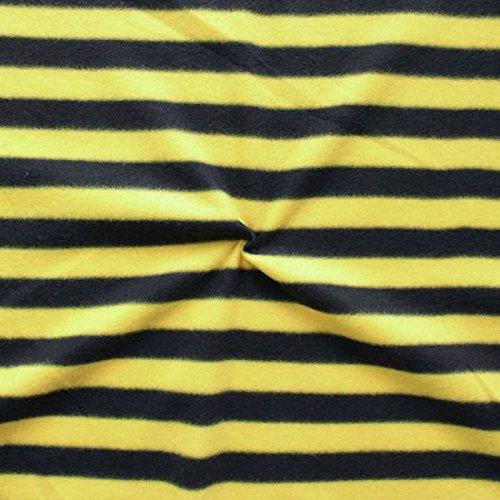 STOFFKONTOR Fleece Stoff antipilling Streifen Meterware Schwarz-Gelb