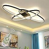 Lámpara LED de salón moderna lámpara de techo para comedor, regulable con mando a distancia, diseño ovalado de anillo pantalla de acrílico araña para cocina, dormitorio, baño lámpara 95x65 cm