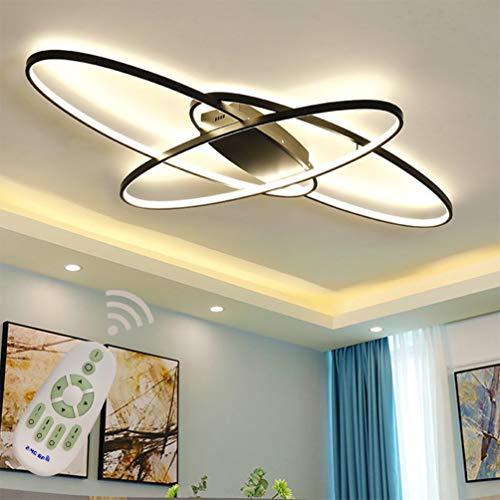 Wohnzimmerlampe LED Modern Deckenleuchte Esszimmerlampe, Dimmbar mit Fernbedienung, Oval 3-Ring Design Metall Acryl-schirm Kronleuchter für Küche Schlafzimmer Bad Decke Leuchten L95*W65cm Schwarz