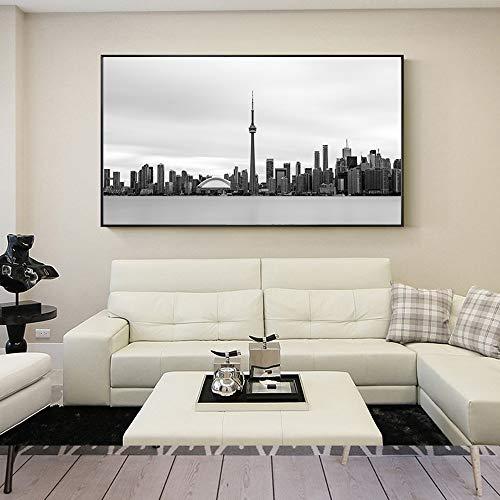XIANRENGE Stampe su Canvas,HD Stampare Poster Stampato su Tela,Toronto City Panorama Edilizio Moderno Astratto Grande Parete Arte Pittura Inkjet Foto Pop Art per Soggiorno Home Decor,40×60Cm