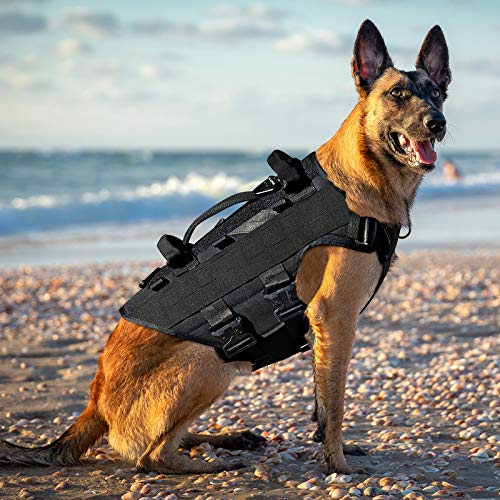 PETAC GEAR Tactical Dog Harness K9 Military Dog Training Harness Adjustable Police Service Dog Working MOLLE Vest for Large Medium Dogs Mals GSD Lab (BK, L)