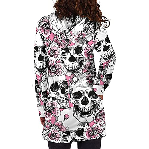 Sudaderas con Capucha de Halloween para Mujer con cordón de Manga Larga Túnica Tops Sudaderas Pullover Blusas de Bolsillo de Longitud Media
